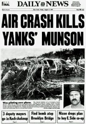 The devastating headline the day after Munson died in a plane crash